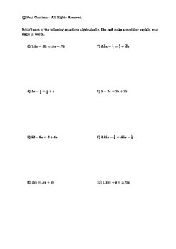 Solving Equations with Variables on Both Sides Mixed Practice