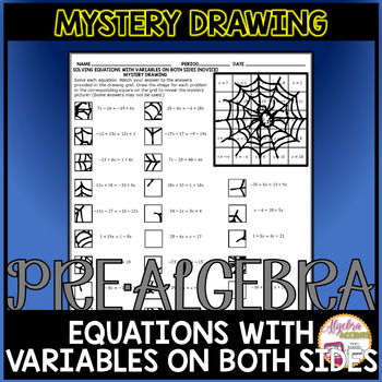 Solving Equations with Variables on Both Sides (Novice Level) Mystery Drawing