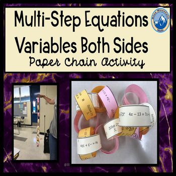 Solving Equations with Variables on Both Sides Paper Chain Activity