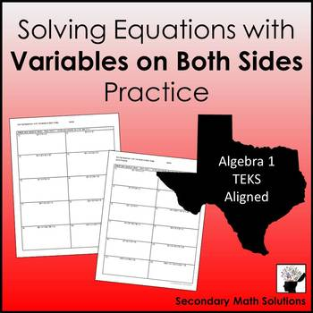 Variables on Both Sides Extra Practice