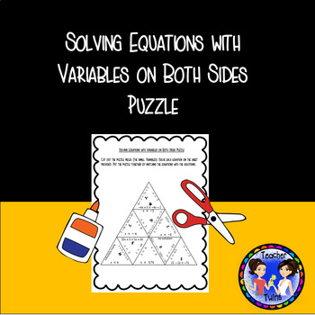 Solving Equations with Variables on Both Sides Puzzle 8.EE.C.7