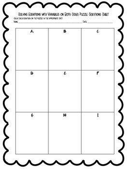 Solving Equations With Variables On Both Sides Puzzle 8 Ee C 7 By