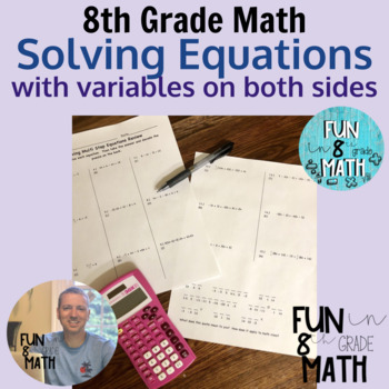 Solving Equations With Variables On Both Sides Puzzle Worksheet Tpt