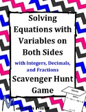 Solving Equations with Variables on Both Sides Scavenger Hunt Game