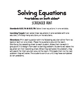 Solving Equations with Variables on Both Sides Scavenger Hunt
