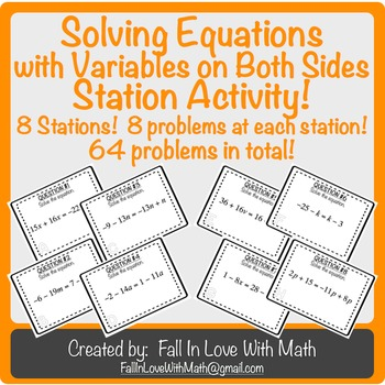 Solving Equations with Variables on Both Sides Station Activity!