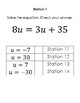 Solving Equations with Variables on Both Sides Stations