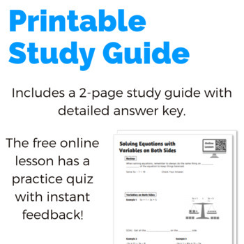 Solving Equations with Variables on Both Sides Study Guide