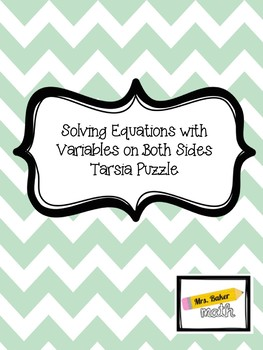 Solving Equations with Variables on Both Sides Tarsia Puzzle (2 Levels!)