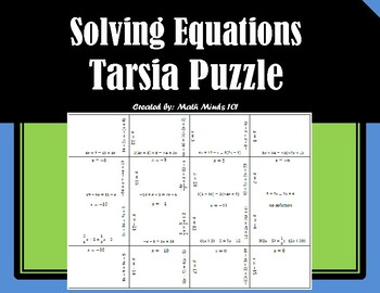 Solving Equations With Variables On Both Sides Puzzle Teaching