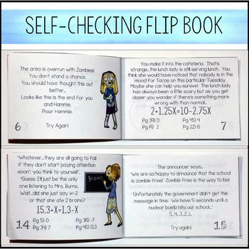 Solving Equations with Variables on Both Sides  - Zombie Flip Book