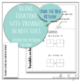 Solving Equations with Variables on Both Sides Foldable