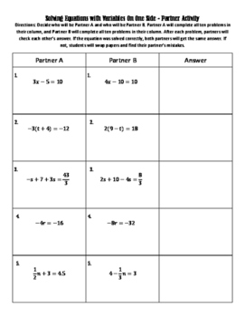 Solving Equations with Variables on One Side - Partner Activity