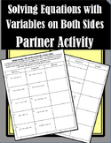 Solving Equations with Variables on Both Sides - Partner Activity