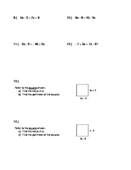 Solving Equations with Varibales on Both Sides Notes and Worksheet