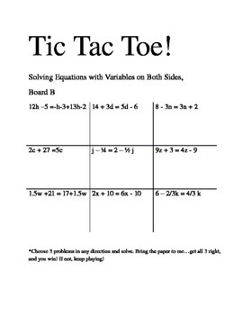 Solving Equations with Varibles on Both Sides Tic Tac Toe