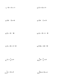 Equations With The Distributive Property Worksheet | TpT