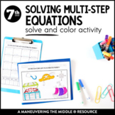 Solving Multi-Step Equations with the Distributive Property: Solve and Color
