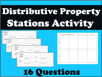 Solving Equations with the Distributive Property Stations