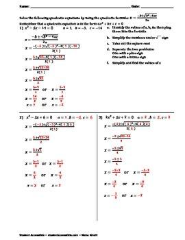 Solving Equations with the Quadratic Formula Worksheet