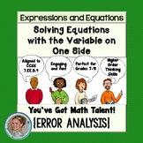 Solving Equations with the Variable on One Side Error Analysis