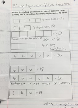 Solving Equivalent Ratio Problems with Tape Diagrams Foldable