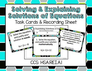 Solving & Explaining Solutions of Equations Task Cards & Recording Sheet