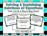 Solving & Explaining Solutions of Equations Task Cards & R