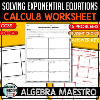 Solving Exponential Equation Calcul8 Worksheet By Creative Math Nerd