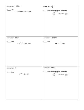 Solving Exponential Equations Circuit Worksheet