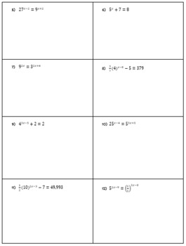 Solving Exponential Equations Guided Notes and HW