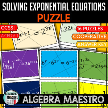 Solving Exponential Equations Puzzle By Creative Math Nerd Tpt