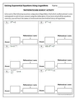 "Solving Exponential Equations Using Logarithms -""Mathematicians Search"" Activity"