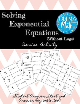 Solving Exponential Equations (with a common base) Domino Activity