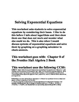 Solving Exponential Equations Worksheet Chapter 8 Prentice Hall