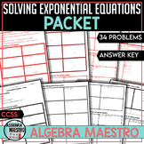 Solving Exponential Equations - Worksheet Packet