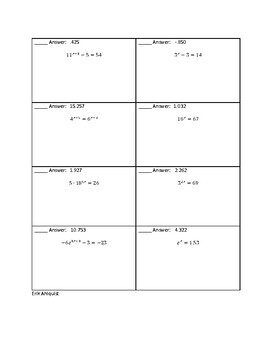 Solving Exponential Equations with Logarithms Circuit