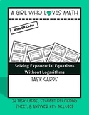 Solving Exponential Equations without Logarithms Task Cards