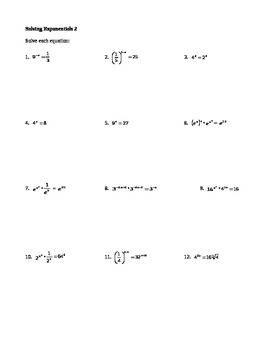 Solving Exponential Equations worksheets