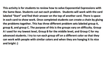 Solving Exponential Expressions with the Same Bases Chain Activity