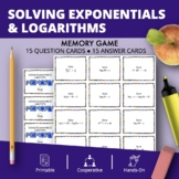 Solving Exponential & Logarithmic Equations Math Memory Game