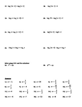 Solving Exponential and Logarithmic  Equations  #2