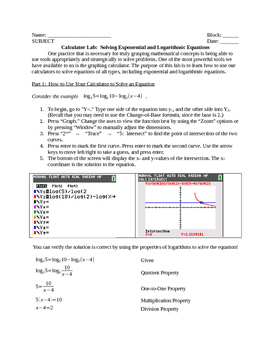 Solving Exponential and Logarithmic Equations Calculator Lab