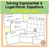 Solving Exponential and Logarithmic Equations MATHO Activity