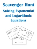 Solving Exponential and Logarithmic Equations Scavenger Hu