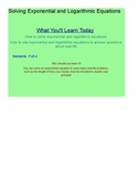 Solving Exponential and Logarithmic Equations SmartBoard Lesson