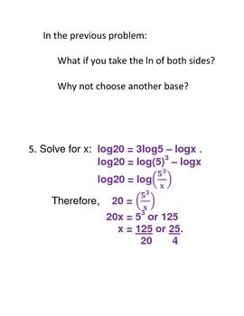 Solving Exponential and Logarithmic Equations plus Transparencies