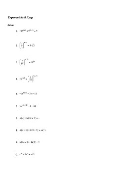Solving Exponentials & Natural Log Equations Worksheet by Sarah Dragoon