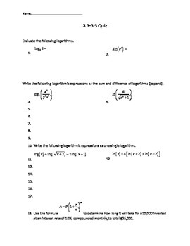 Solving Exponetial and Logarithmic Functions Quiz