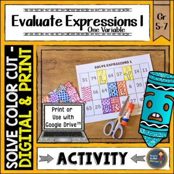 Solving Expressions 1 Solve, Color, Cut